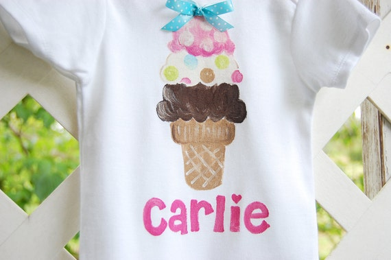 Personalized ice cream cone bodysuit or toddler shirt for ice cream social, ice cream sundae birthday, ice cream shirt for ice cream party