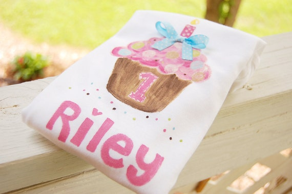 personalized birthday tee or bodysuit, polka dot cupcake for 1st birthday, 2nd birthday, etc