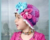 Kids Purple and Fucshia Beanie with Flowers / Wild Berries / Great Photo Prop