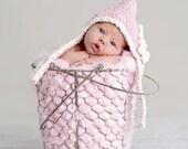 Pink Baby Hat, Baby Hood Hat, Baby Girl Hood, Pink Hat, Crochet Hat Baby