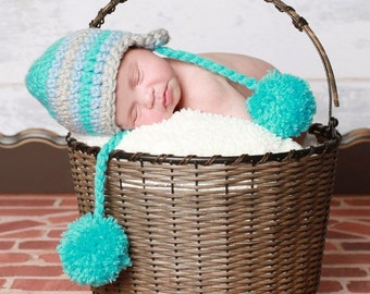 Blue and Gray Crochet Earflap Baby Beanie with PomPom /0 - 3 Months / Blue , Aqua , Grey