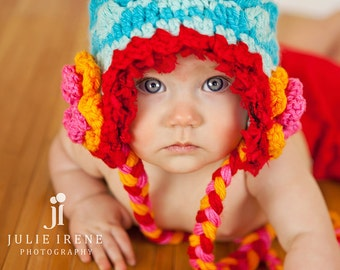 Baby Beanie with Flowers, Baby Girl Hat in Blue, Baby Gift Ideas