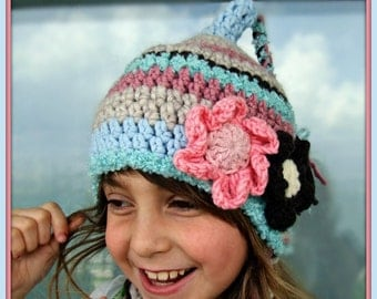 Girl Winter Hats, Striped  Stocking Beanie with Flower, Tassel Toque, Aqua Pink Beige Brown, Great Gift for Kids, Back to School Present