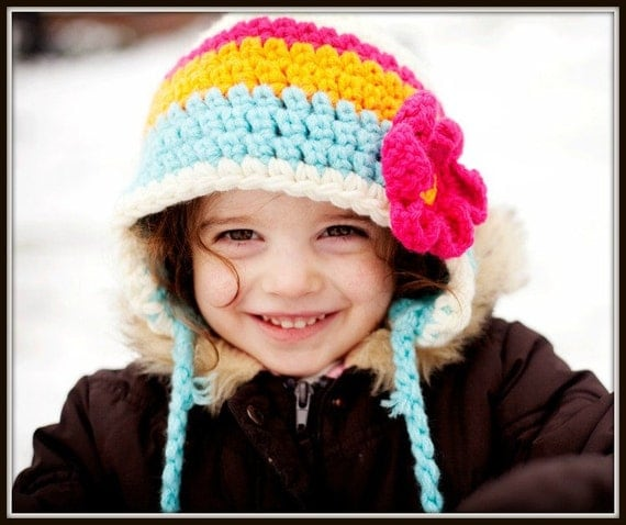 Girls earflap hat in vibrant colors and with flower