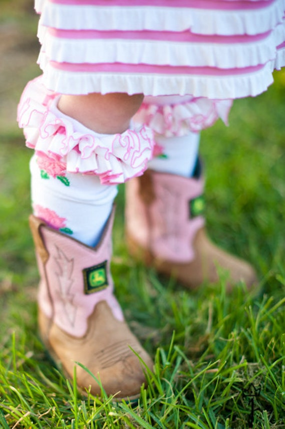 Pink Rose with Pink and White Ruffle Knee Socks