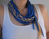 Cobalt and Saffron jersey tshirt braided 3-in-1 Necklace -