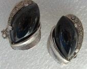 Vintage Kramer Black Glass Earrings lined with Rhinestones