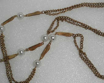 Long Vintage Gold Chain and Pearl Necklace