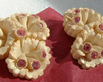 Vintage Ivory Celluloid Earrings with Pink Rhinestones