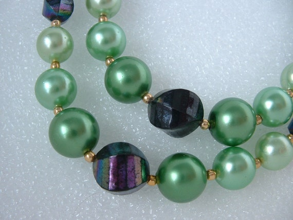 Vintage Double Strand HONG KONG Necklace in Shades of Green with Amazing Irridescent Beads