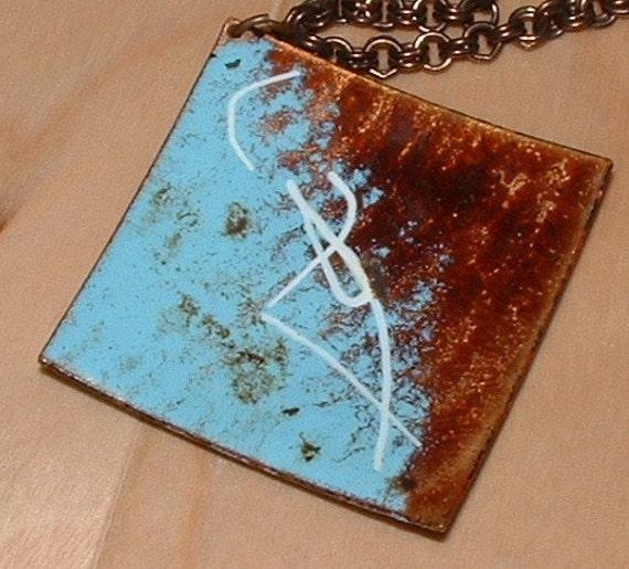 Vintage Modernist Enameled Pendant with Oxidized, DoubleLink Copper Neckchain / Necklace
