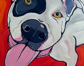 PIT BULL dog art print white and black red orange bright colors 5x7