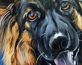 GERMAN SHEPHERD dog art print blue bright colors long haired 5x7