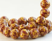 Red and Yellow Bead Necklace. Flower Pattern. Large Clay Beads.