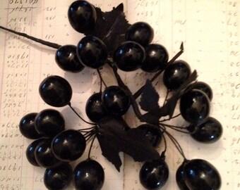 Antique Vintage Millinery Black Cherries