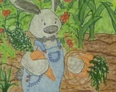 8 1/2x11 art print Snugglebunny on the Farm