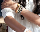 Clear Austrian Crystal WRAP BRACELET with Black Leather Cord & Vintage Button
