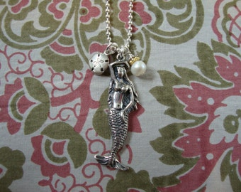 Sterling Silver MERMAID NECKLACE w/ Fresh Water Pearl and Sand Dollar