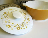 Vintage Corning Centura Harvest Gold Covered Casserole Farmhouse