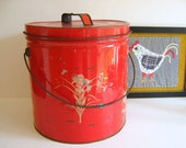 Vintage Red Chippy Cannister, 1930s by RollingHillsVintage on Etsy