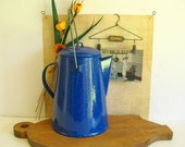 Graniteware Coffee Pot Speckled Cobalt Blue