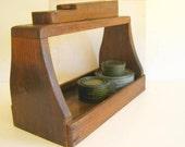 Wood Shoe Shine Box Antique Garden Tote Wood Box Handle RollingHillsVintage