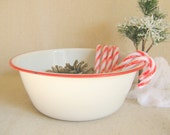 White Enamelware Bowl With Red Trim Vintage Home Decor by RollingHillsVintage