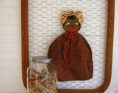 Antique Black Americana Clothespin Bag
