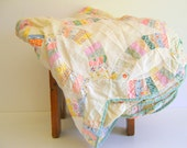 Antique Quilt Top Shabby Chic Home Decor Pastel Colors 1930s by RollingHillsVintage on Etsy