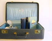 Navy Suitcase Vintage Home Decor by RollingHillsVintage on Etsy