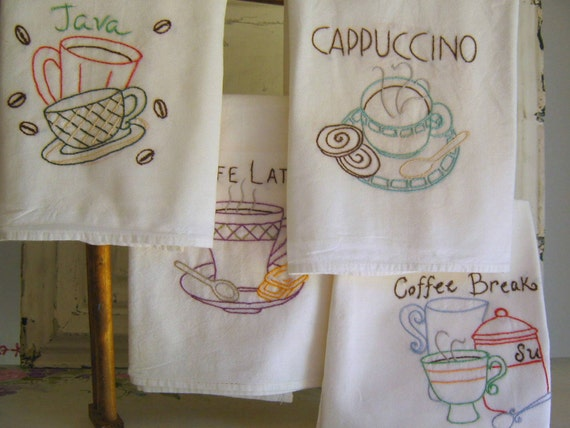 Coffee Time Tea Towels Hand Embroidered