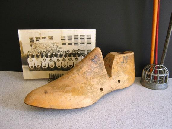 Wood Shoe Last Antique 1930's Shoe Form Chippy Patina RollingHillsVintage