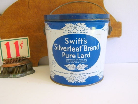 Swifts Pure Lard Tin Chippy Patina Farmhouse Silver Leaf Brand Chicago Illinois Rolling Hills Vintage