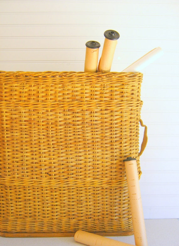 Vintage Woven Basket Large Storage Container Garden Decor by RollingHillsVintage on Etsy