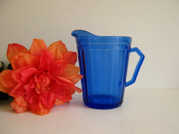 Vintage Depression Glass Cobalt Blue Creamer Pitcher by RollingHillsVintage on Etsy
