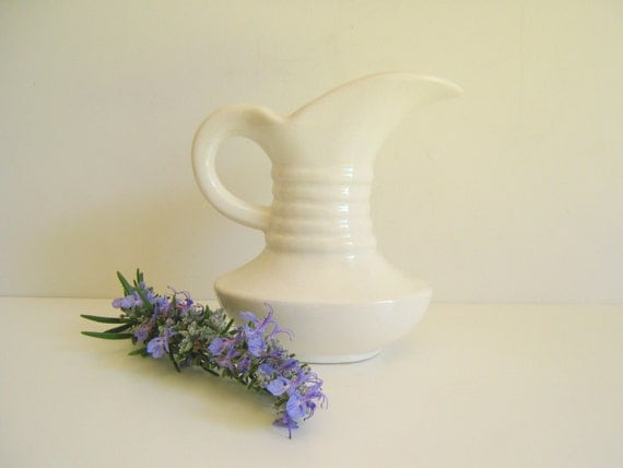 Vintage White Pottery Vase Pitcher Mad Men Mid Century Modern by RollingHillsVintage