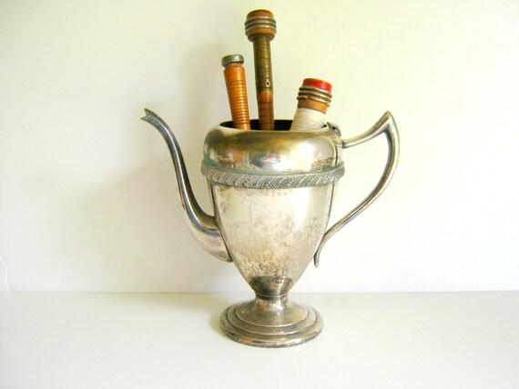 Shabby Vintage Silver Teapot Vase Metallic
