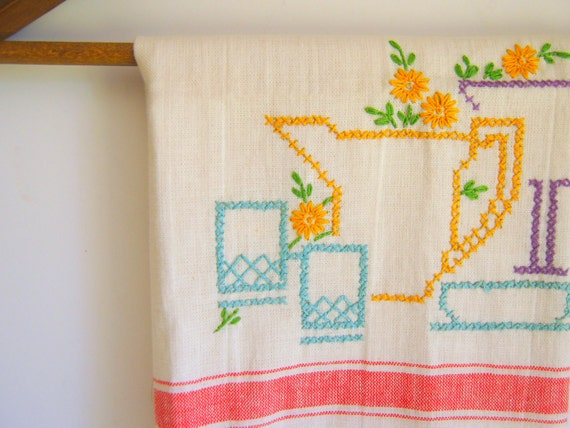Vintage Dish Towel Cross Stitch Retro Kitchen Decor
