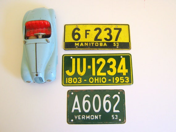 Reserved for Mike Vintage License Plates 1953 Travel Vacation Signage
