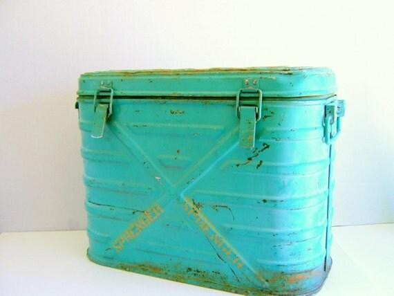 Vintage Mermite Cooler Turquoise 1960s Army Surplus