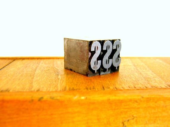 Letterpress Printers Blocks, Metal, Dollar Sign, Antique Industrial Decor
