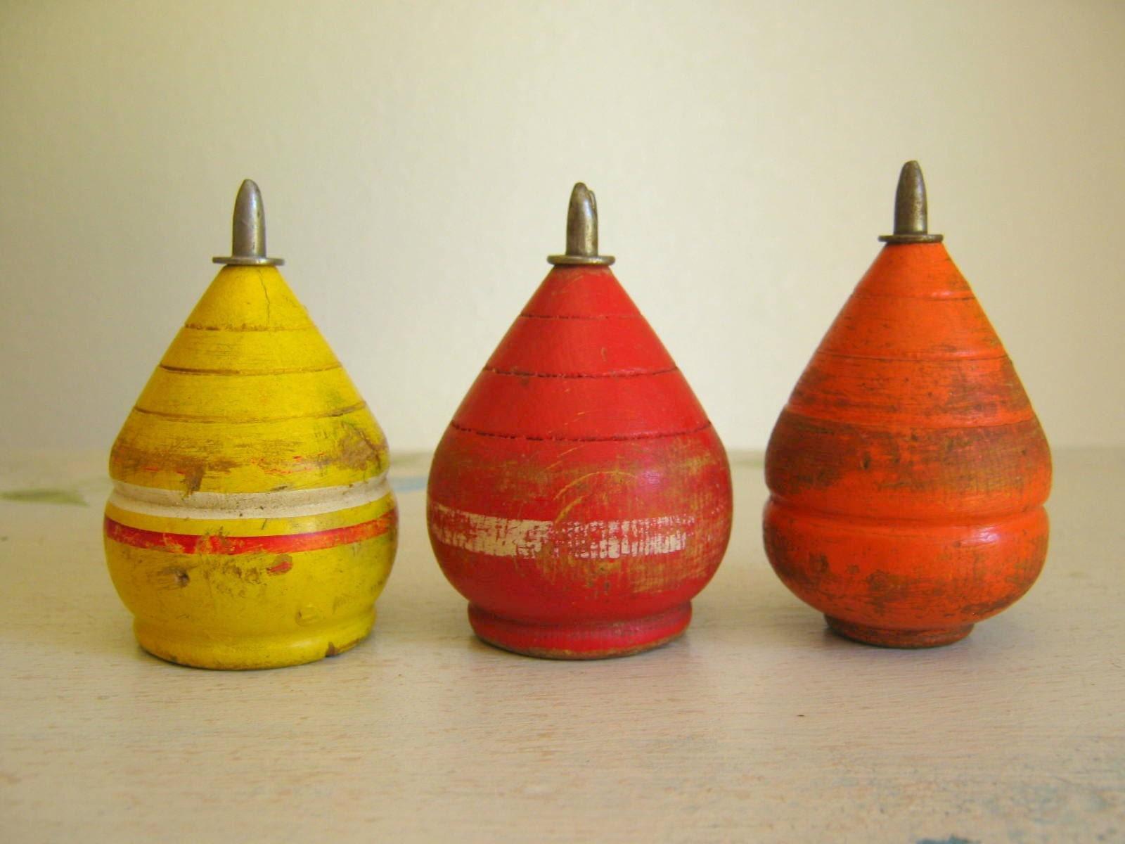 Antique Vintage Wooden Spinning Tops Children's Toy