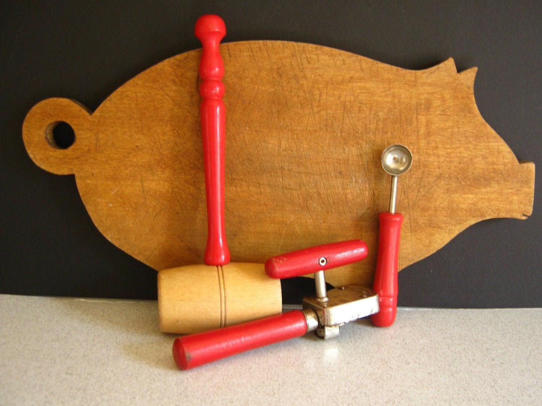 Antique Kitchen Tools Retro Kitchen Red Wood Handles