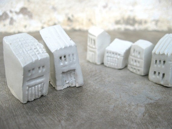 Rickety Houses II - Set of Six Stoneware House Figurines