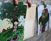 Beautiful Day Postcards - set of 6, recycled note cards, tree house, sleeping girl, original illustrations