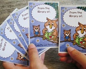 Starry Owl Book Stickers, set of 6 adhesive labels, ex-libris library bookplates, full colour, recycled
