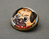 Boy Pug Glass Brooch - Round bronze brooch with puppy and polka dot collar