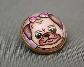 Girl Pug Glass Brooch - Round bronze brooch with puppy and polka dot ribbon