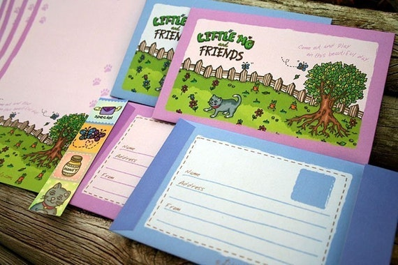 TWO SETS LEFT - Come Out and Play Letter Set - 8 recycled writing sheets with envelopes