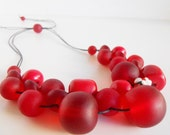 Berry Red bubble ball resin bead necklace NEW
